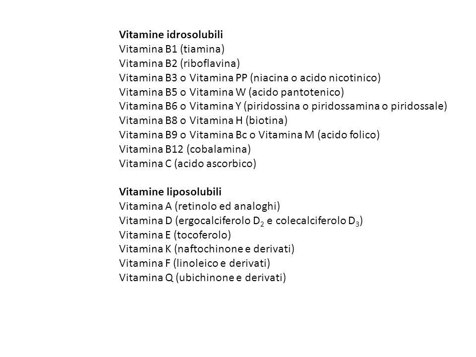 Vitamine idrosolubili Vitamina B1 (tiamina) Vitamina B2 (riboflavina) Vitamina B3 o Vitamina PP (niacina o acido nicotinico) Vitamina B5 o Vitamina W (acido pantotenico) Vitamina B6 o Vitamina Y (piridossina o piridossamina o piridossale) Vitamina B8 o Vitamina H (biotina) Vitamina B9 o Vitamina Bc o Vitamina M (acido folico) Vitamina B12 (cobalamina) Vitamina C (acido ascorbico) Vitamine liposolubili Vitamina A (retinolo ed analoghi) Vitamina D (ergocalciferolo D 2 e colecalciferolo D 3 ) Vitamina E (tocoferolo) Vitamina K (naftochinone e derivati) Vitamina F (linoleico e derivati) Vitamina Q (ubichinone e derivati)