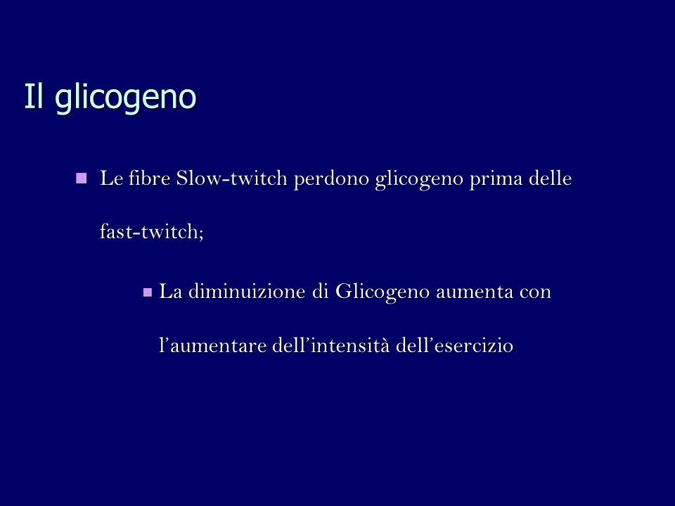 Il glicogeno Le fibre Slow-twitch perdono glicogeno prima delle fast-twitch; Le fibre Slow-twitch perdono glicogeno prima delle fast-twitch; La diminuizione di Glicogeno aumenta con laumentare dellintensità dellesercizio La diminuizione di Glicogeno aumenta con laumentare dellintensità dellesercizio