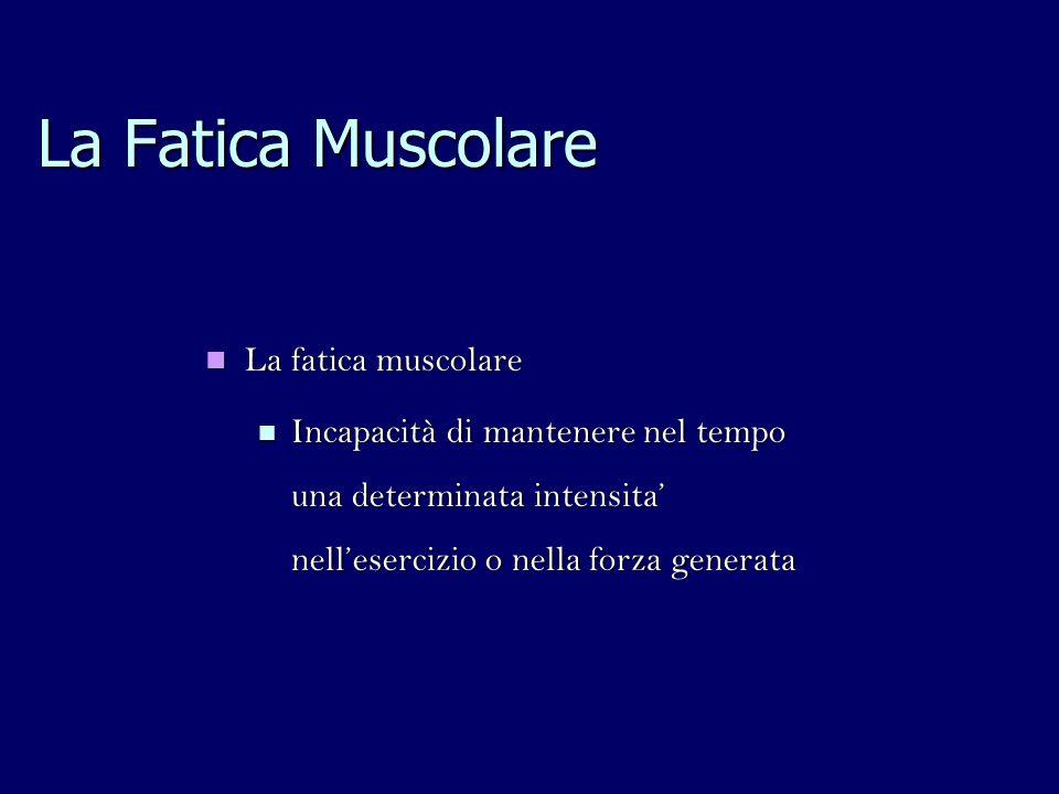 La Fatica Muscolare La fatica muscolare La fatica muscolare Incapacità di mantenere nel tempo una determinata intensita nellesercizio o nella forza generata Incapacità di mantenere nel tempo una determinata intensita nellesercizio o nella forza generata