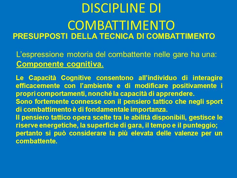 DISCIPLINE DI COMBATTIMENTO PRESUPPOSTI DELLA TECNICA DI COMBATTIMENTO Lespressione motoria del combattente nelle gare ha una: Componente cognitiva.