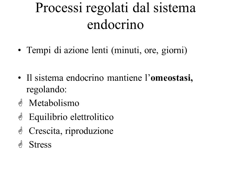 Processi regolati dal sistema endocrino Tempi di azione lenti (minuti, ore, giorni) Il sistema endocrino mantiene lomeostasi, regolando: G Metabolismo