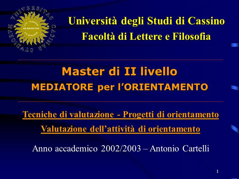 2 Università degli Studi di Cassino - Facoltà di Lettere e Filosofia – a.a.