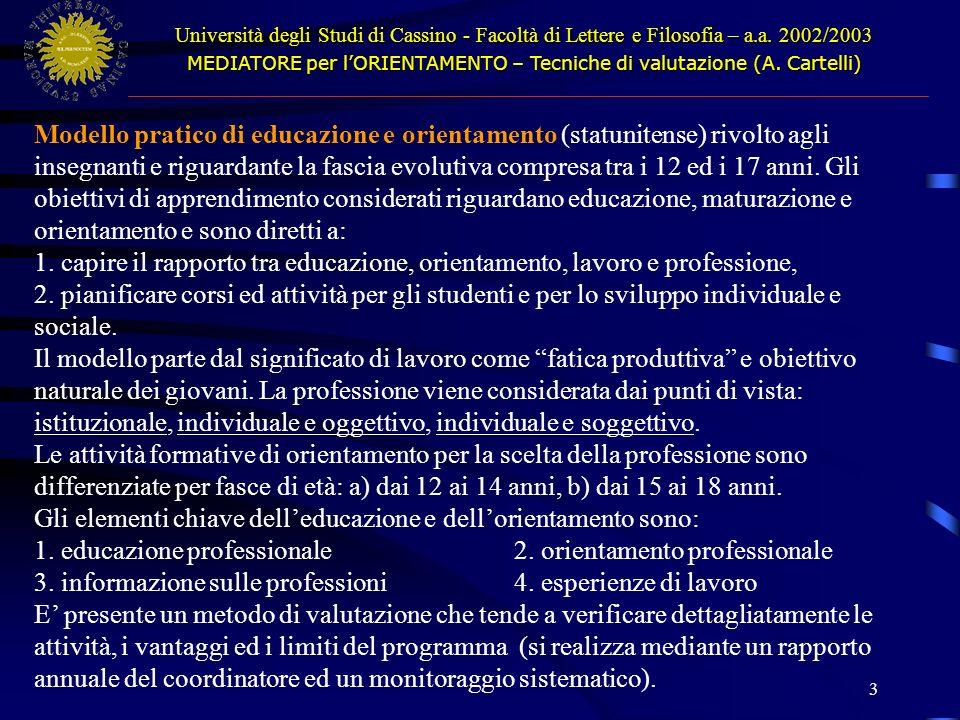 4 Università degli Studi di Cassino - Facoltà di Lettere e Filosofia – a.a.