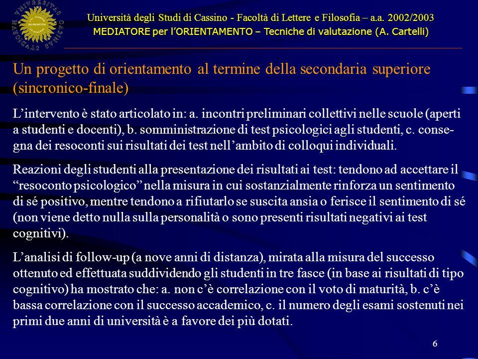 7 Università degli Studi di Cassino - Facoltà di Lettere e Filosofia – a.a.