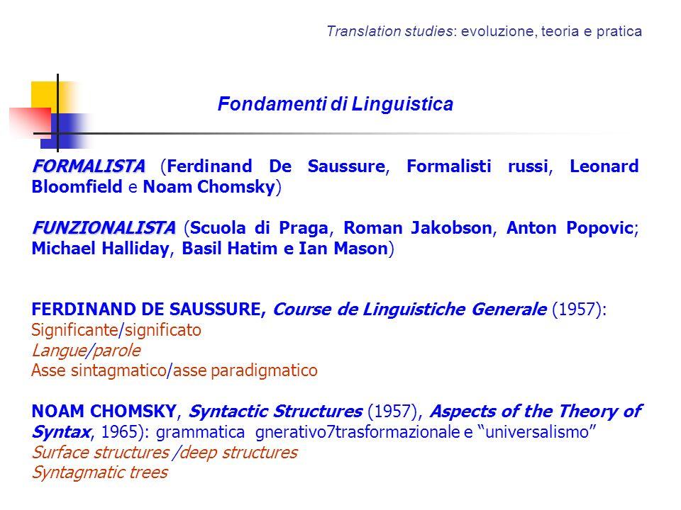 Translation studies: evoluzione, teoria e pratica Fondamenti di Linguistica FORMALISTA FORMALISTA (Ferdinand De Saussure, Formalisti russi, Leonard Bl