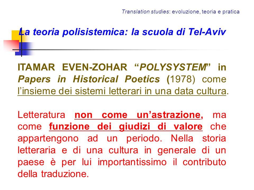 Translation studies: evoluzione, teoria e pratica La teoria polisistemica: la scuola di Tel-Aviv ITAMAR EVEN-ZOHAR POLYSYSTEM in Papers in Historical