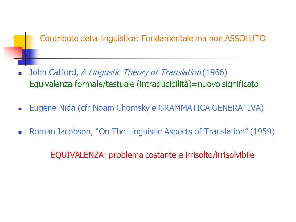Contributo della linguistica: Fondamentale ma non ASSOLUTO John Catford, A Lingustic Theory of Translation (1966) Equivalenza formale/testuale (intrad