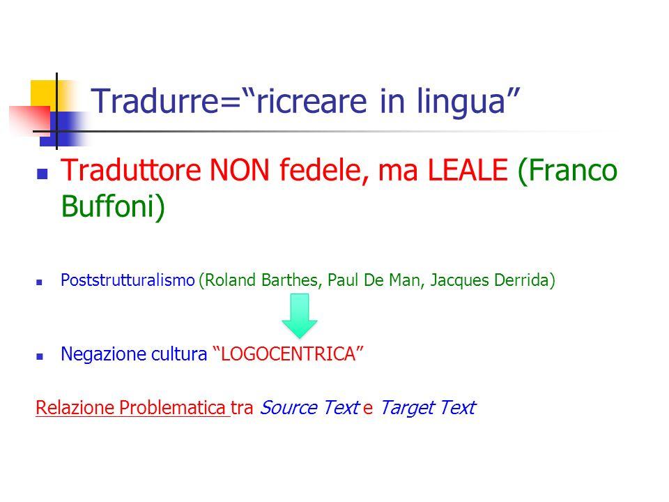 Tradurre=ricreare in lingua Traduttore NON fedele, ma LEALE (Franco Buffoni) Poststrutturalismo (Roland Barthes, Paul De Man, Jacques Derrida) Negazio