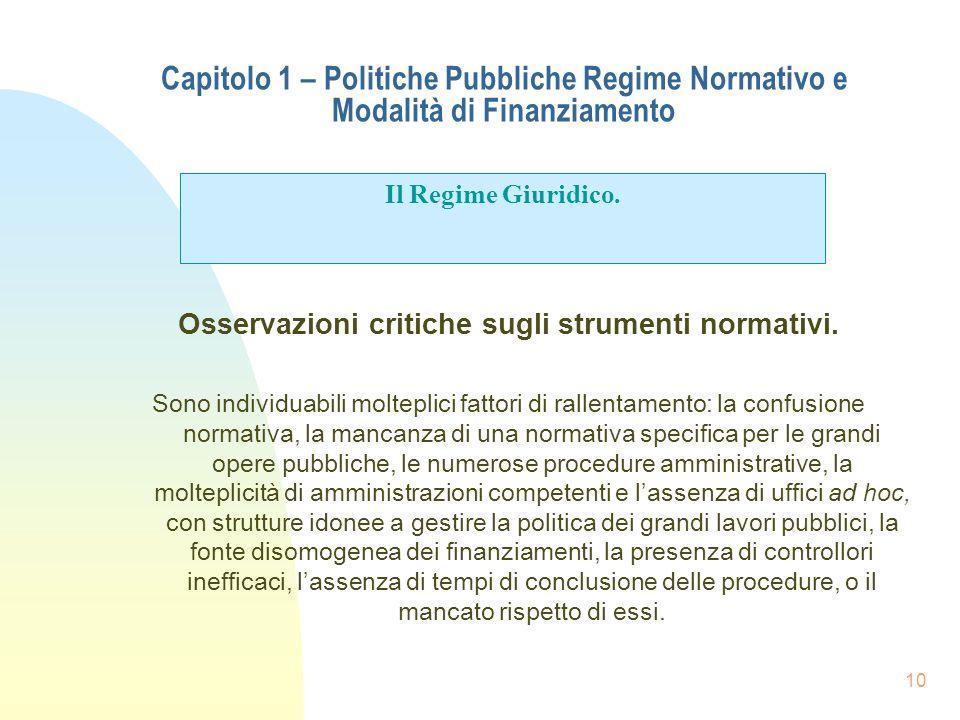 10 Capitolo 1 – Politiche Pubbliche Regime Normativo e Modalità di Finanziamento Osservazioni critiche sugli strumenti normativi. Sono individuabili m