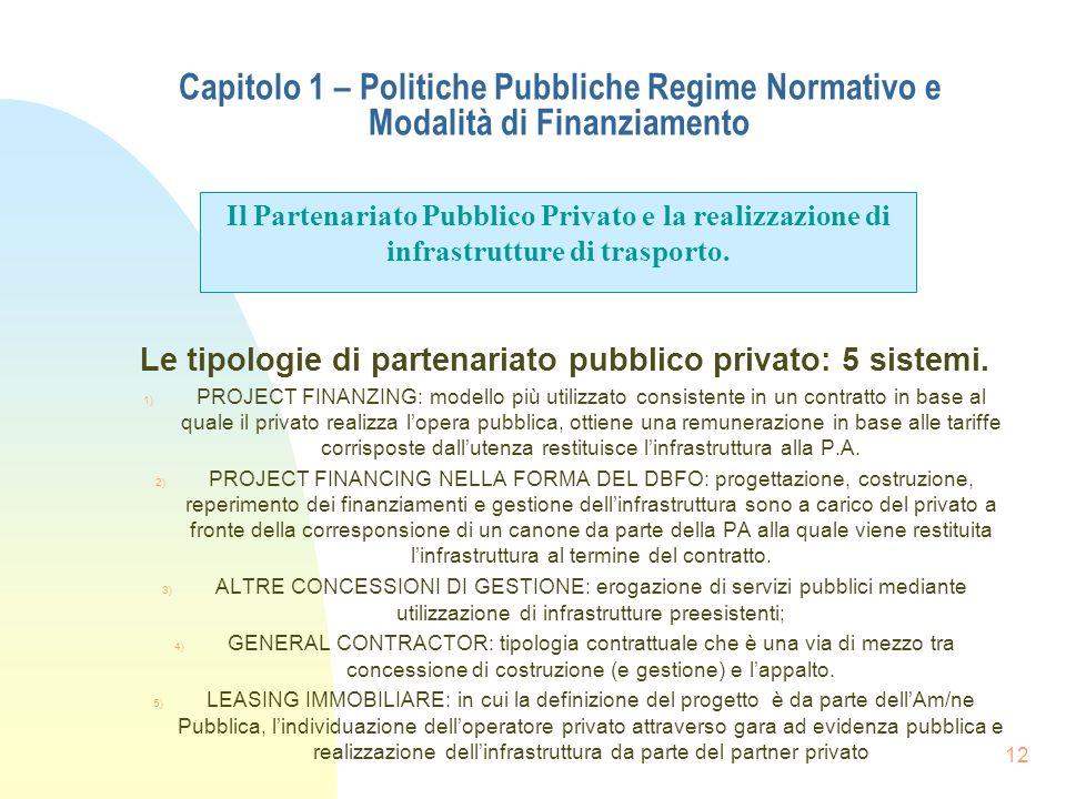 12 Capitolo 1 – Politiche Pubbliche Regime Normativo e Modalità di Finanziamento Le tipologie di partenariato pubblico privato: 5 sistemi. 1) PROJECT
