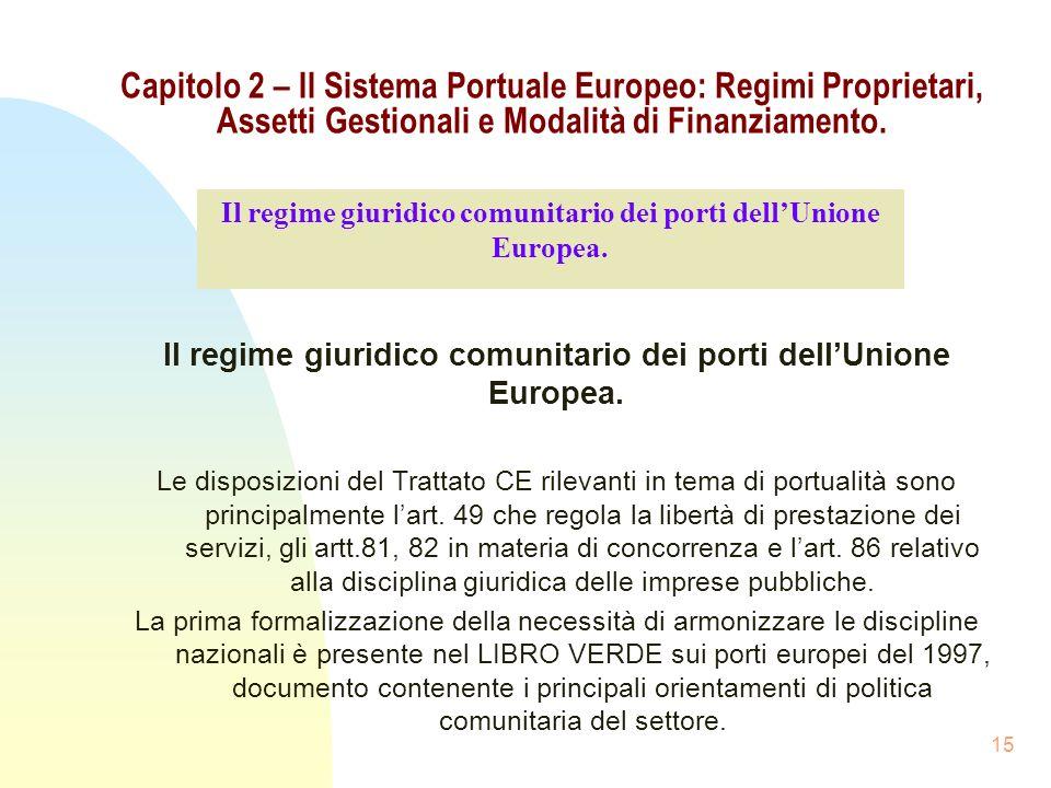 15 Capitolo 2 – Il Sistema Portuale Europeo: Regimi Proprietari, Assetti Gestionali e Modalità di Finanziamento. Il regime giuridico comunitario dei p