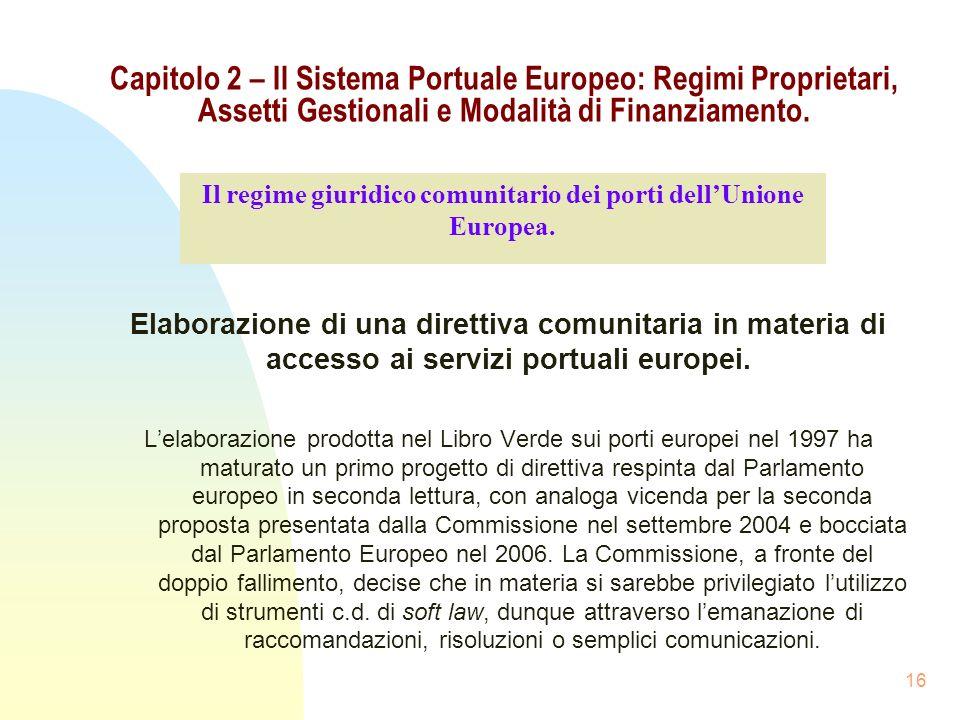 16 Capitolo 2 – Il Sistema Portuale Europeo: Regimi Proprietari, Assetti Gestionali e Modalità di Finanziamento. Elaborazione di una direttiva comunit