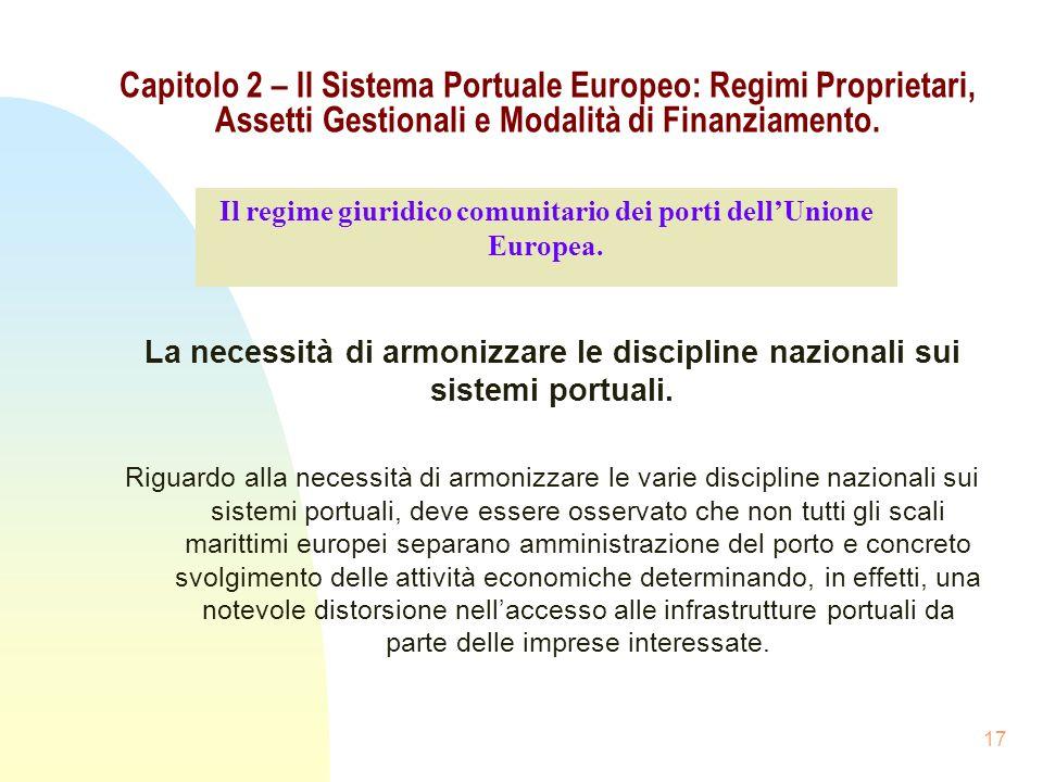 17 Capitolo 2 – Il Sistema Portuale Europeo: Regimi Proprietari, Assetti Gestionali e Modalità di Finanziamento. La necessità di armonizzare le discip