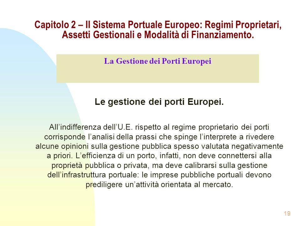 19 Capitolo 2 – Il Sistema Portuale Europeo: Regimi Proprietari, Assetti Gestionali e Modalità di Finanziamento. Le gestione dei porti Europei. Allind