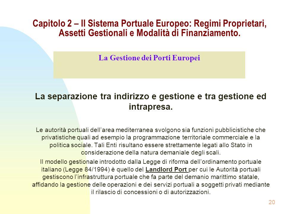 20 Capitolo 2 – Il Sistema Portuale Europeo: Regimi Proprietari, Assetti Gestionali e Modalità di Finanziamento. La separazione tra indirizzo e gestio