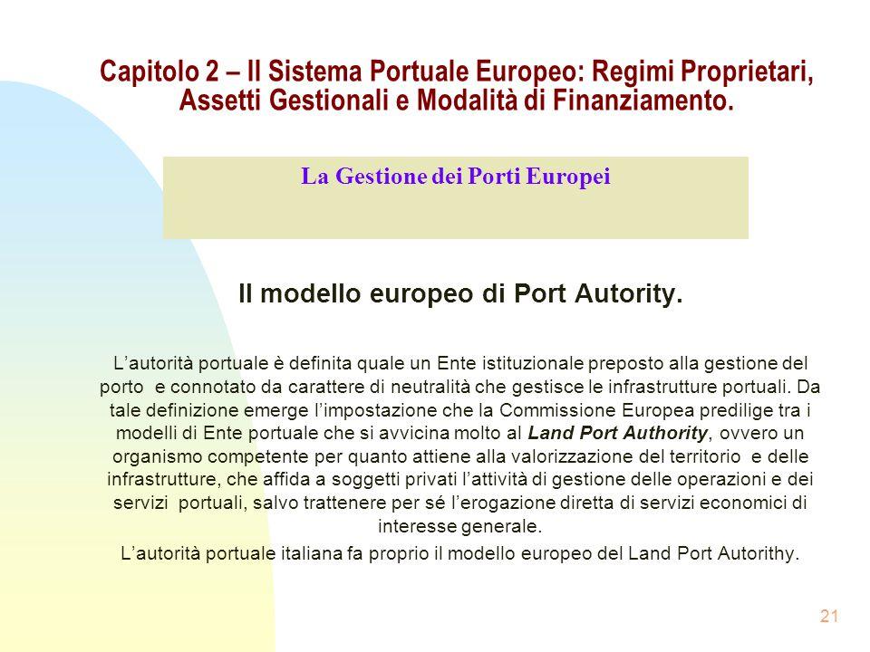 21 Capitolo 2 – Il Sistema Portuale Europeo: Regimi Proprietari, Assetti Gestionali e Modalità di Finanziamento. Il modello europeo di Port Autority.