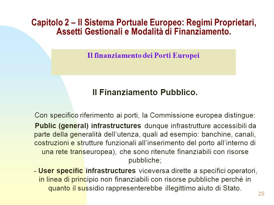 25 Capitolo 2 – Il Sistema Portuale Europeo: Regimi Proprietari, Assetti Gestionali e Modalità di Finanziamento. Il Finanziamento Pubblico. Con specif