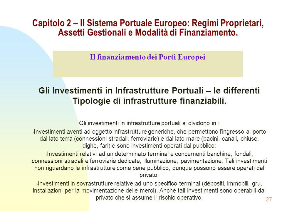 27 Capitolo 2 – Il Sistema Portuale Europeo: Regimi Proprietari, Assetti Gestionali e Modalità di Finanziamento. Gli Investimenti in Infrastrutture Po