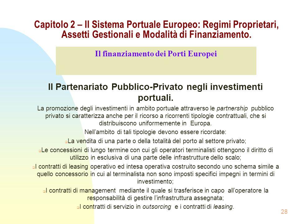 28 Capitolo 2 – Il Sistema Portuale Europeo: Regimi Proprietari, Assetti Gestionali e Modalità di Finanziamento. Il Partenariato Pubblico-Privato negl