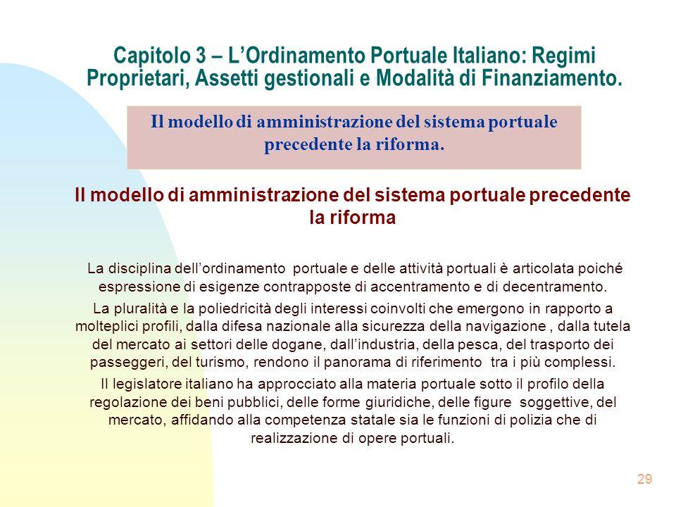 29 Capitolo 3 – LOrdinamento Portuale Italiano: Regimi Proprietari, Assetti gestionali e Modalità di Finanziamento. Il modello di amministrazione del