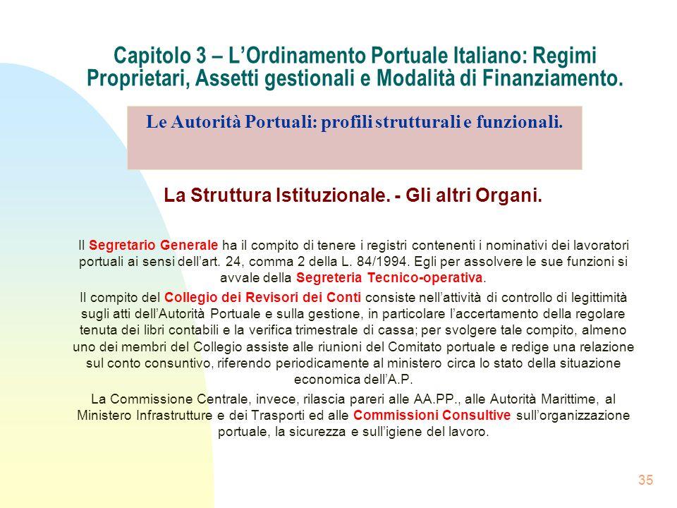 35 Capitolo 3 – LOrdinamento Portuale Italiano: Regimi Proprietari, Assetti gestionali e Modalità di Finanziamento. La Struttura Istituzionale. - Gli