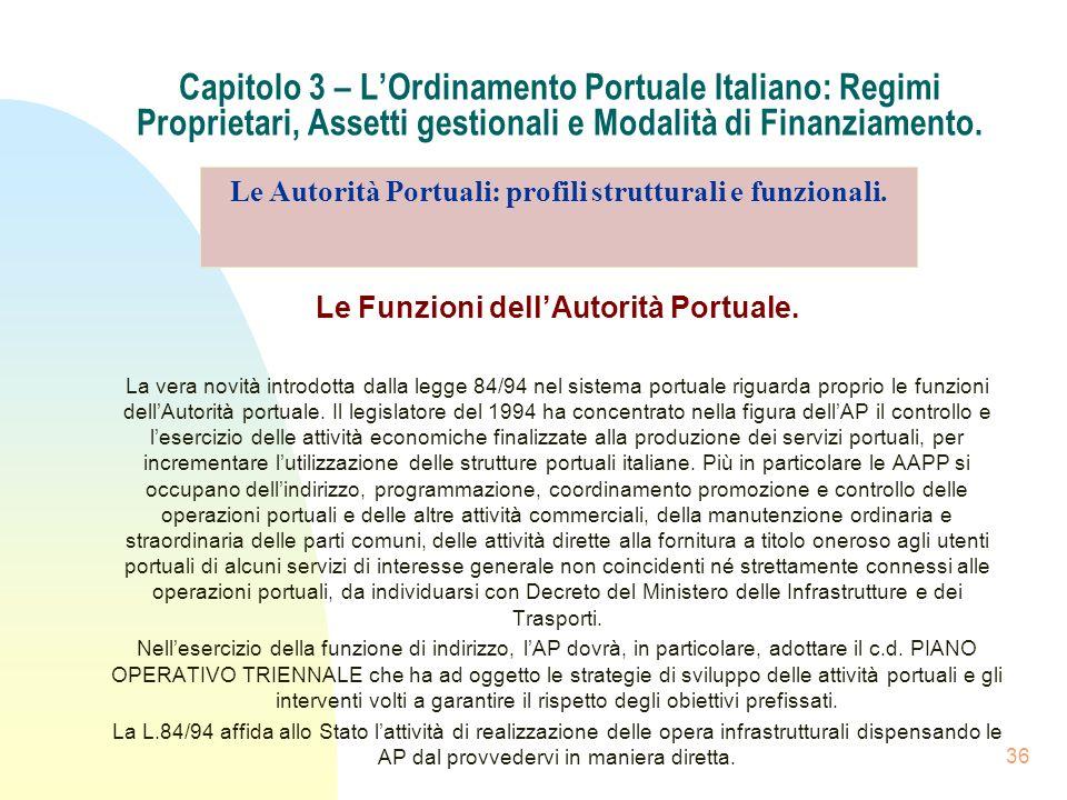 36 Capitolo 3 – LOrdinamento Portuale Italiano: Regimi Proprietari, Assetti gestionali e Modalità di Finanziamento. Le Funzioni dellAutorità Portuale.