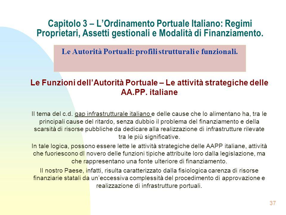 37 Capitolo 3 – LOrdinamento Portuale Italiano: Regimi Proprietari, Assetti gestionali e Modalità di Finanziamento. Le Funzioni dellAutorità Portuale