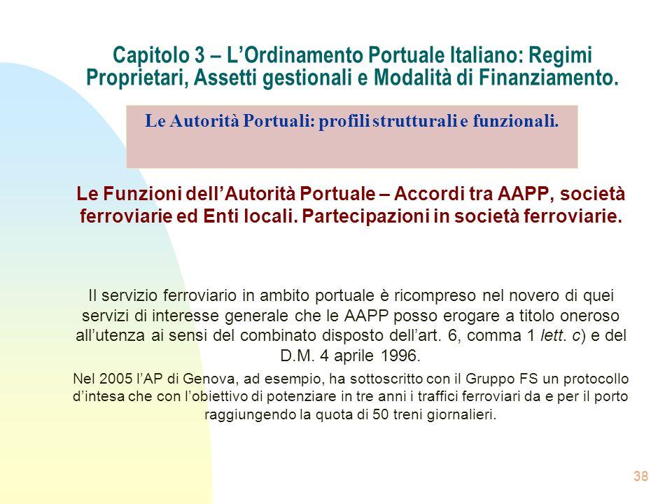 38 Capitolo 3 – LOrdinamento Portuale Italiano: Regimi Proprietari, Assetti gestionali e Modalità di Finanziamento. Le Funzioni dellAutorità Portuale