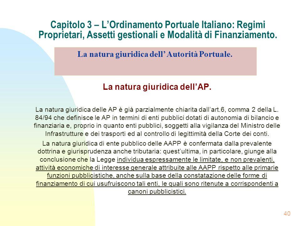 40 Capitolo 3 – LOrdinamento Portuale Italiano: Regimi Proprietari, Assetti gestionali e Modalità di Finanziamento. La natura giuridica dellAP. La nat
