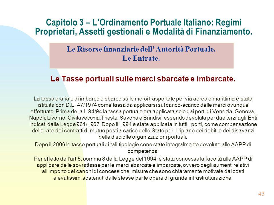 43 Capitolo 3 – LOrdinamento Portuale Italiano: Regimi Proprietari, Assetti gestionali e Modalità di Finanziamento. Le Tasse portuali sulle merci sbar