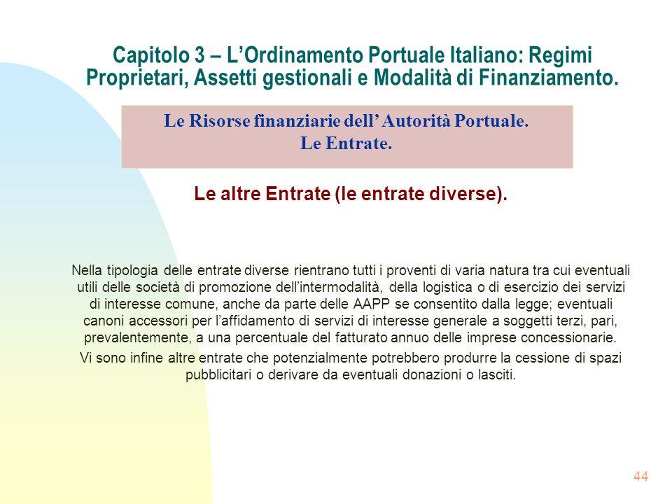 44 Capitolo 3 – LOrdinamento Portuale Italiano: Regimi Proprietari, Assetti gestionali e Modalità di Finanziamento. Le altre Entrate (le entrate diver