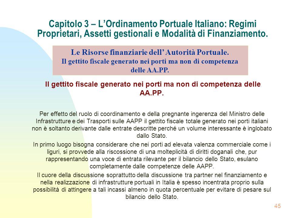 45 Capitolo 3 – LOrdinamento Portuale Italiano: Regimi Proprietari, Assetti gestionali e Modalità di Finanziamento. Il gettito fiscale generato nei po