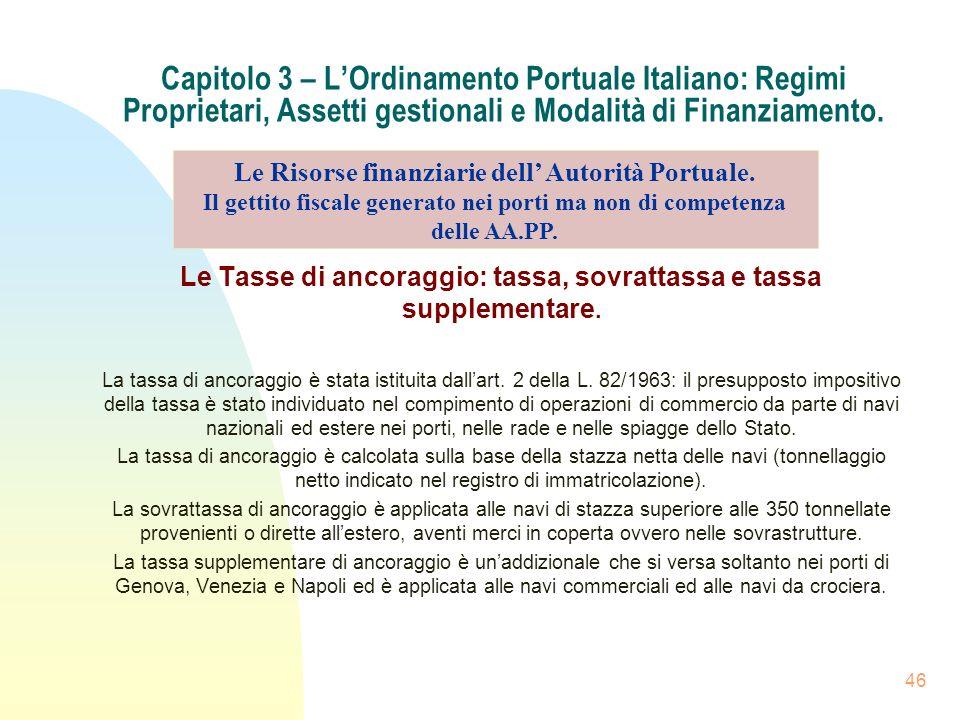 46 Capitolo 3 – LOrdinamento Portuale Italiano: Regimi Proprietari, Assetti gestionali e Modalità di Finanziamento. Le Tasse di ancoraggio: tassa, sov