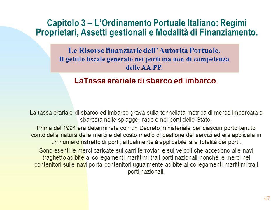 47 Capitolo 3 – LOrdinamento Portuale Italiano: Regimi Proprietari, Assetti gestionali e Modalità di Finanziamento. LaTassa erariale di sbarco ed imba
