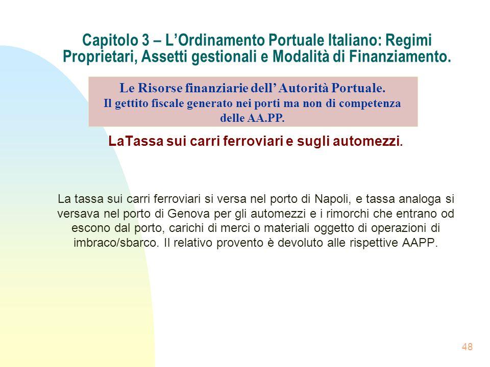 48 Capitolo 3 – LOrdinamento Portuale Italiano: Regimi Proprietari, Assetti gestionali e Modalità di Finanziamento. LaTassa sui carri ferroviari e sug