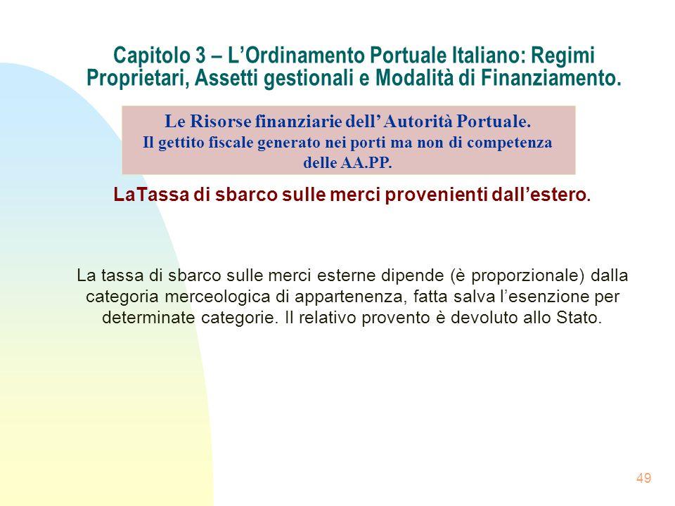 49 Capitolo 3 – LOrdinamento Portuale Italiano: Regimi Proprietari, Assetti gestionali e Modalità di Finanziamento. LaTassa di sbarco sulle merci prov