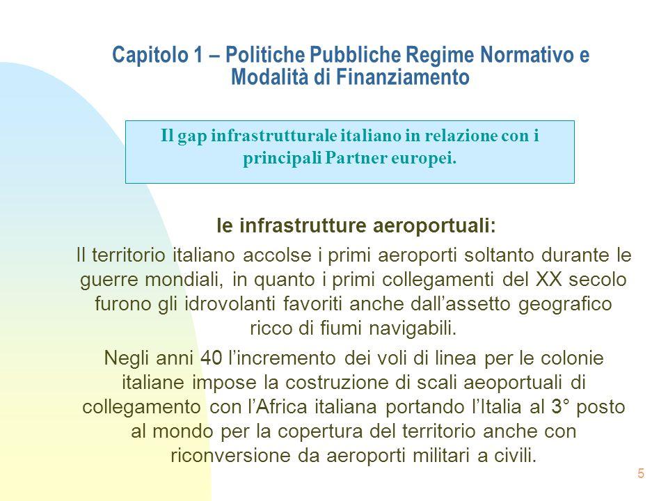 5 Capitolo 1 – Politiche Pubbliche Regime Normativo e Modalità di Finanziamento le infrastrutture aeroportuali: Il territorio italiano accolse i primi