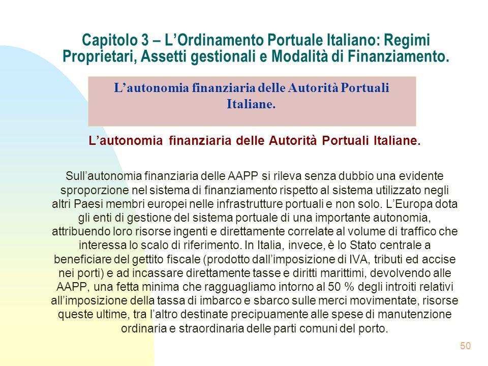 50 Capitolo 3 – LOrdinamento Portuale Italiano: Regimi Proprietari, Assetti gestionali e Modalità di Finanziamento. Lautonomia finanziaria delle Autor