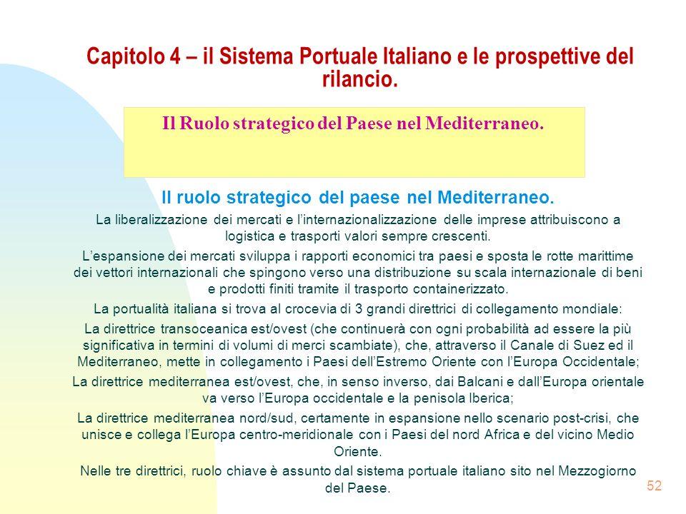52 Capitolo 4 – il Sistema Portuale Italiano e le prospettive del rilancio. Il ruolo strategico del paese nel Mediterraneo. La liberalizzazione dei me