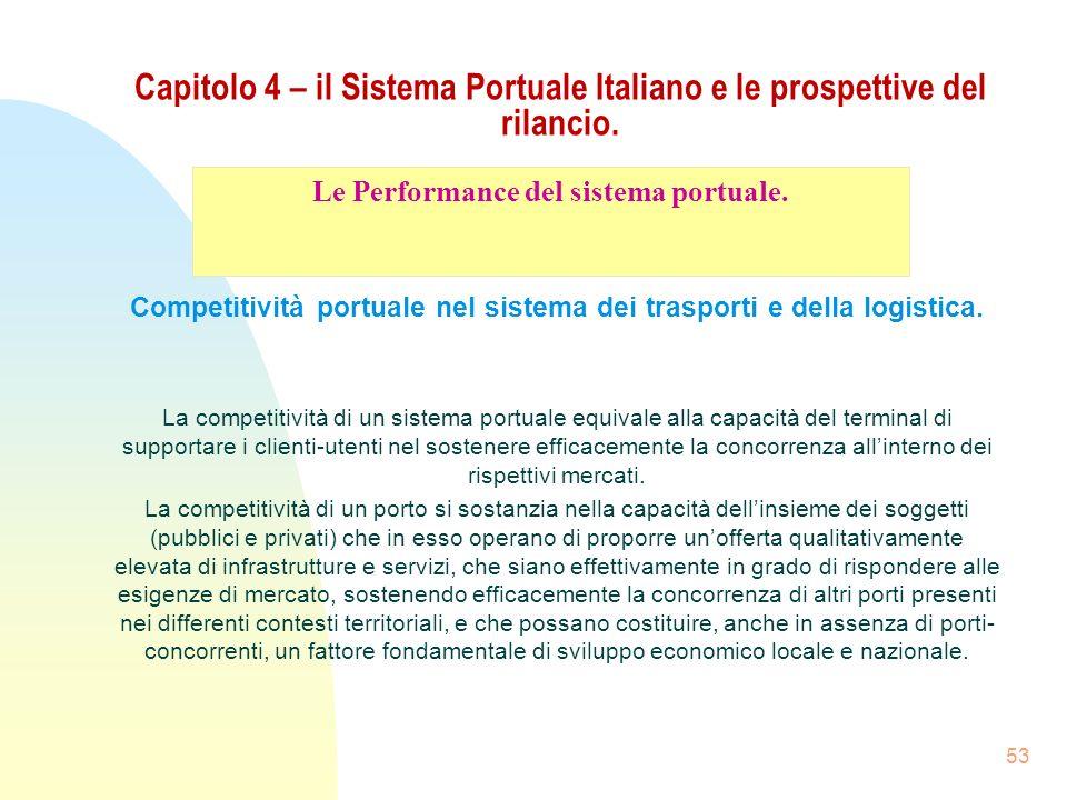 53 Capitolo 4 – il Sistema Portuale Italiano e le prospettive del rilancio. Competitività portuale nel sistema dei trasporti e della logistica. La com