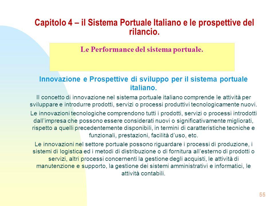 55 Capitolo 4 – il Sistema Portuale Italiano e le prospettive del rilancio. Innovazione e Prospettive di sviluppo per il sistema portuale italiano. Il