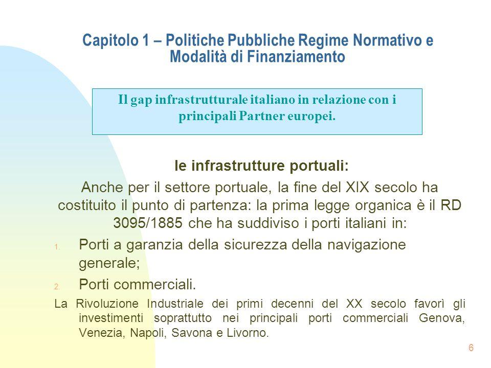 6 Capitolo 1 – Politiche Pubbliche Regime Normativo e Modalità di Finanziamento le infrastrutture portuali: Anche per il settore portuale, la fine del