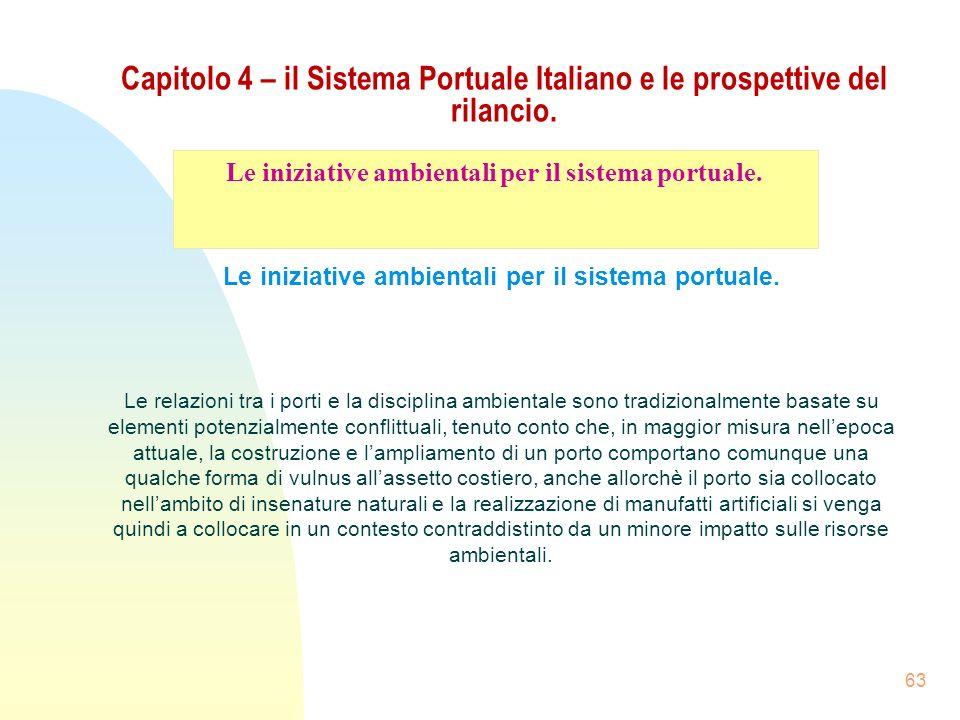 63 Capitolo 4 – il Sistema Portuale Italiano e le prospettive del rilancio. Le iniziative ambientali per il sistema portuale. Le relazioni tra i porti