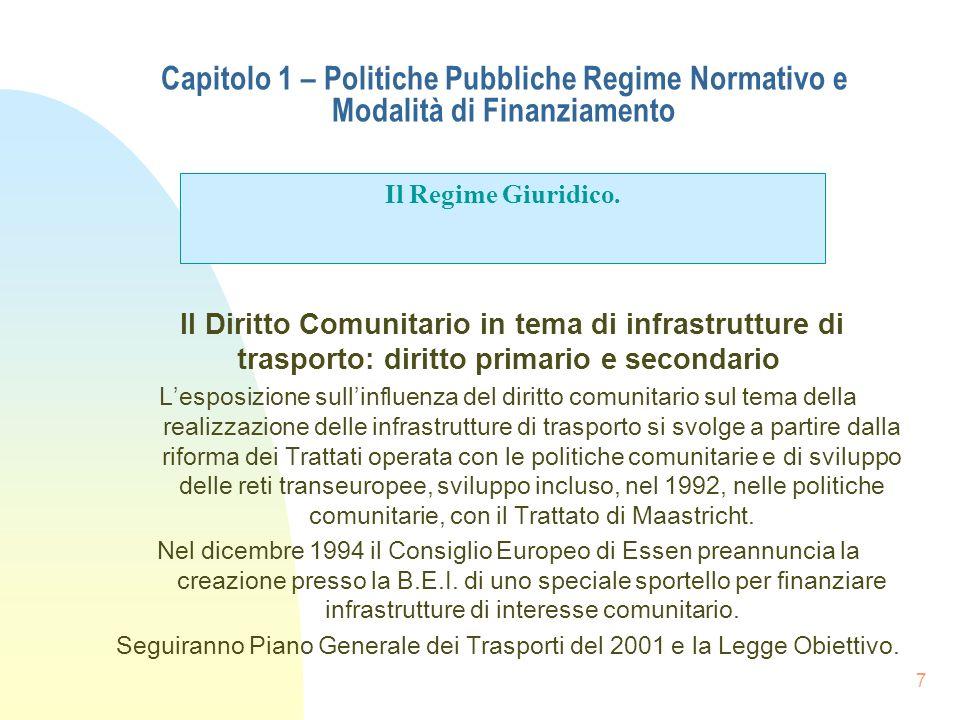 7 Capitolo 1 – Politiche Pubbliche Regime Normativo e Modalità di Finanziamento Il Diritto Comunitario in tema di infrastrutture di trasporto: diritto