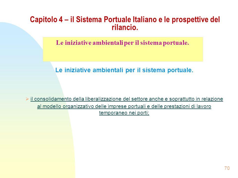 70 Capitolo 4 – il Sistema Portuale Italiano e le prospettive del rilancio. Le iniziative ambientali per il sistema portuale. il consolidamento della