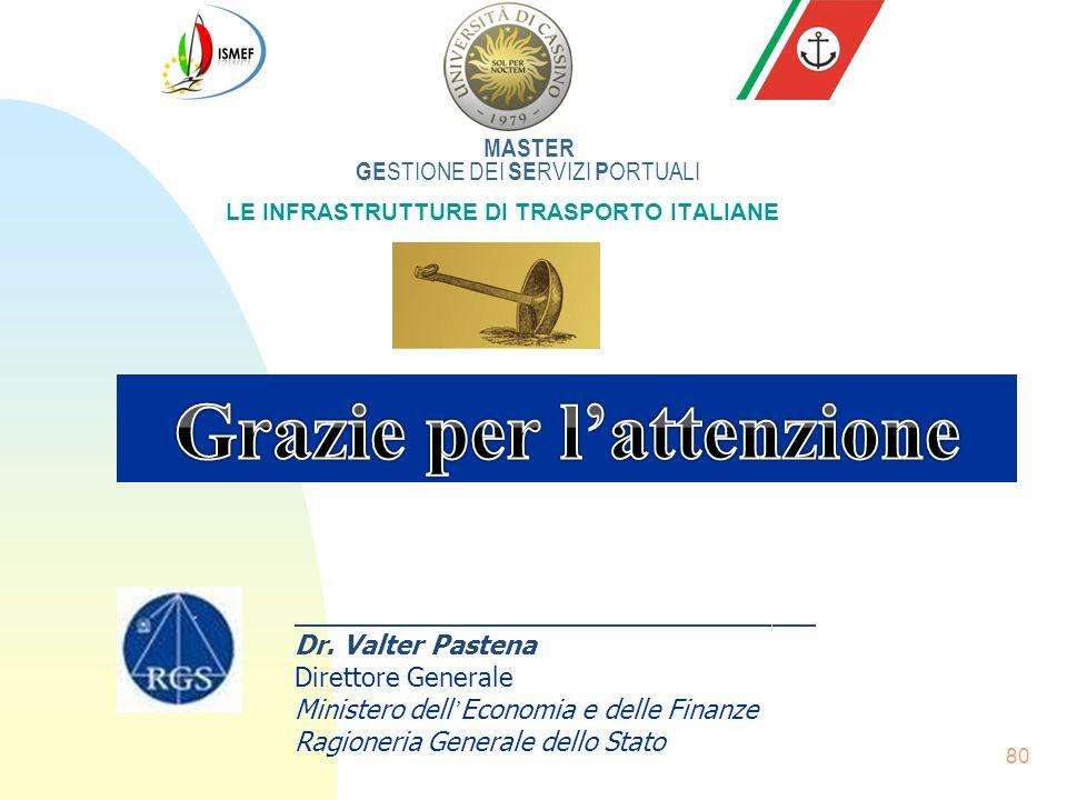 80 MASTER GE STIONE DEI SE RVIZI P ORTUALI LE INFRASTRUTTURE DI TRASPORTO ITALIANE ____________________________________ Dr. Valter Pastena Direttore G