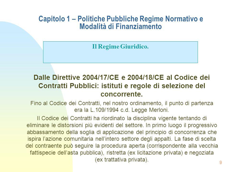 9 Capitolo 1 – Politiche Pubbliche Regime Normativo e Modalità di Finanziamento Dalle Direttive 2004/17/CE e 2004/18/CE al Codice dei Contratti Pubbli