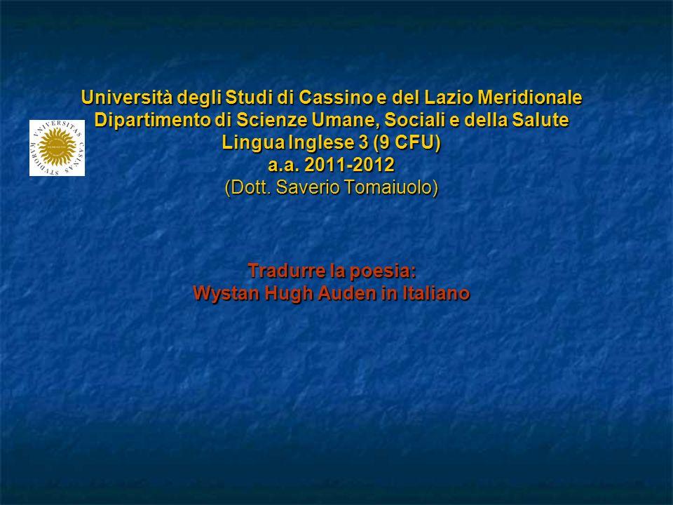 Università degli Studi di Cassino e del Lazio Meridionale Dipartimento di Scienze Umane, Sociali e della Salute Lingua Inglese 3 (9 CFU) a.a.
