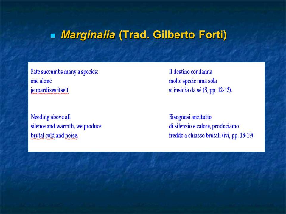Marginalia (Trad. Gilberto Forti) Marginalia (Trad. Gilberto Forti)