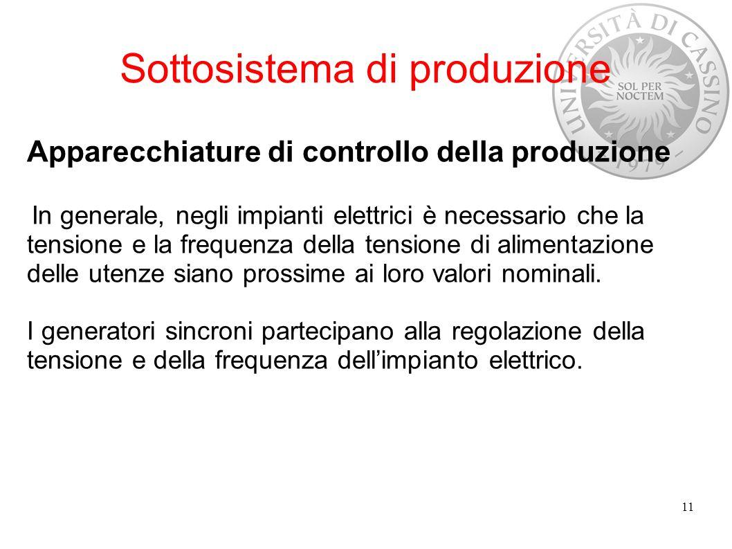 Sottosistema di produzione Apparecchiature di controllo della produzione In generale, negli impianti elettrici è necessario che la tensione e la frequ